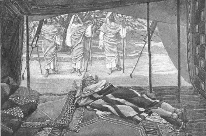 אברהם ושלושת המלאכים - הבשורה על הולדת יצחק (בראשית יח)  צייר: ג'יימס טיסו, 1836 - 1902
