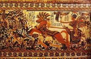 פרעה תות ענח אמון במרכבת הקרב שלו