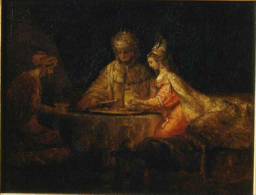 אחשוורוש והמן במשתה השני של אסתר.