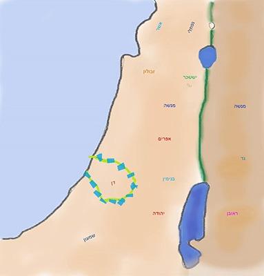 שופטים פרק יג - הולדת שמשון מפת תרשים: מיקומו של שבט דן.
