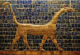 חווה, אדם, הנחש ופרי עץ הדעת (בראשית ג) נחש בעל רגליים. אריח משער האלה אישתר.