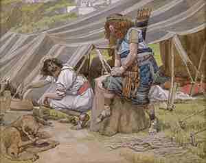 הולדת יעקב ועשיו ומכירת הבכורה (בראשית כה) - הצייר ג'יימס טיסו.
